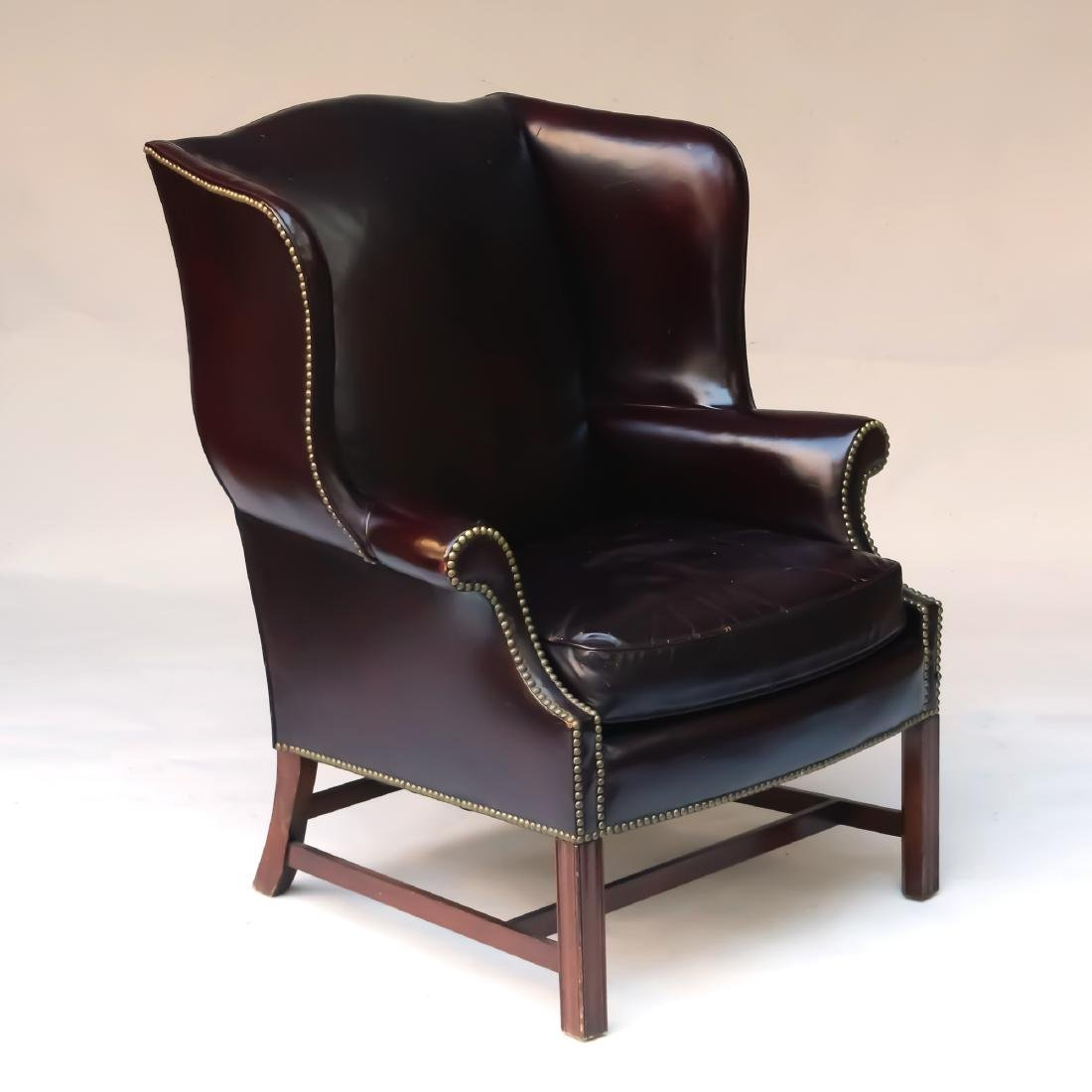 LEATHER CHIPPENDALE-STYLE WING CHAIR - 2