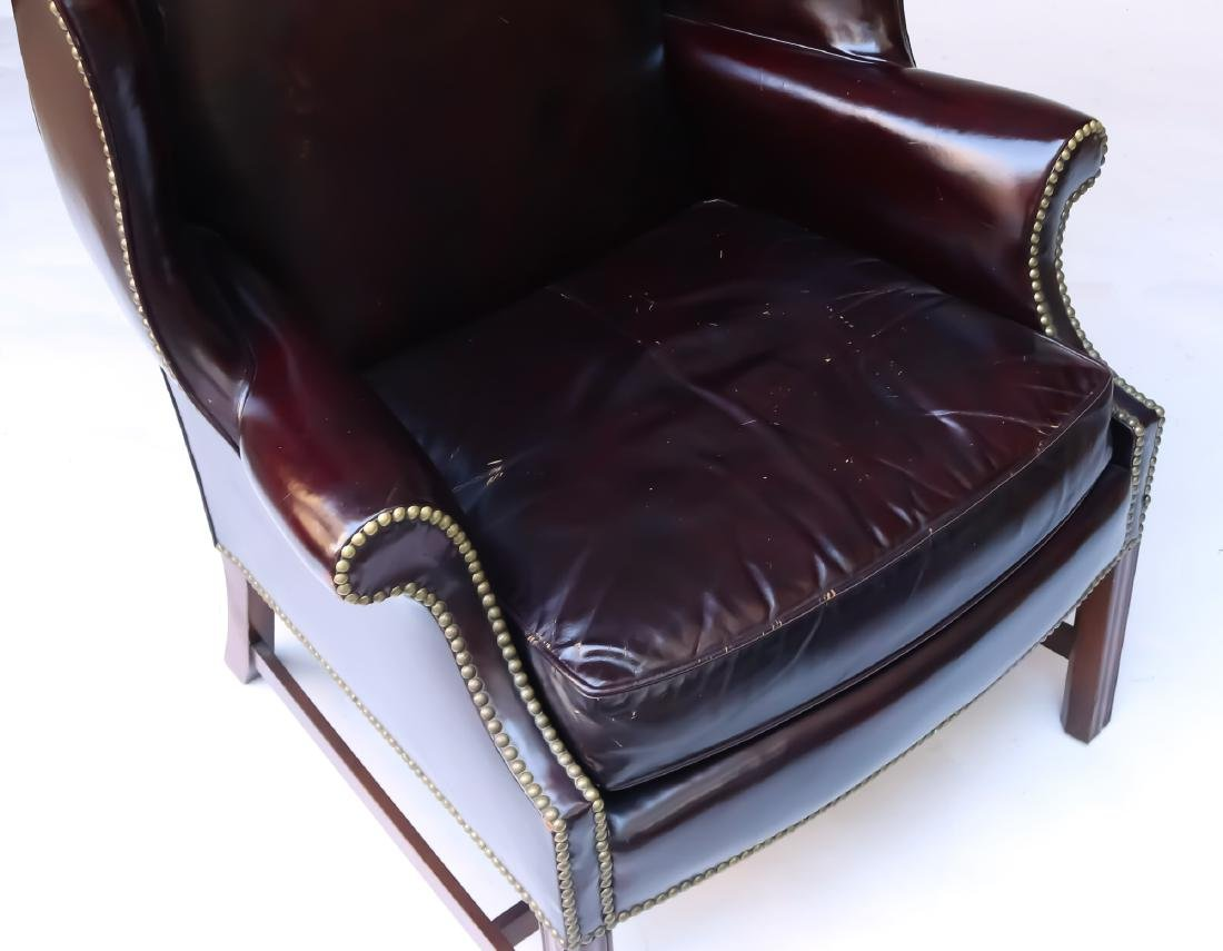 LEATHER CHIPPENDALE-STYLE WING CHAIR - 3