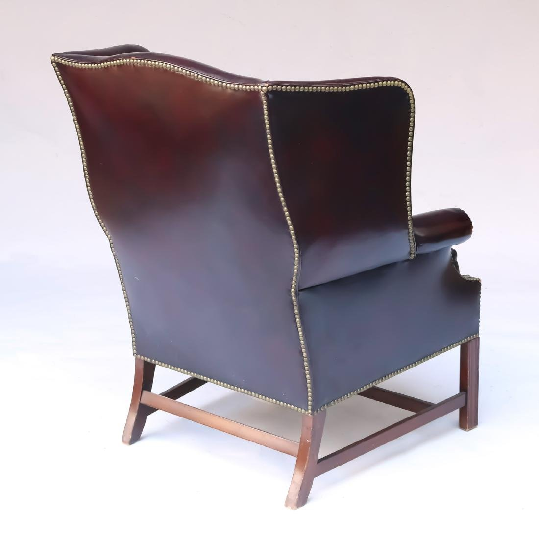 LEATHER CHIPPENDALE-STYLE WING CHAIR - 5