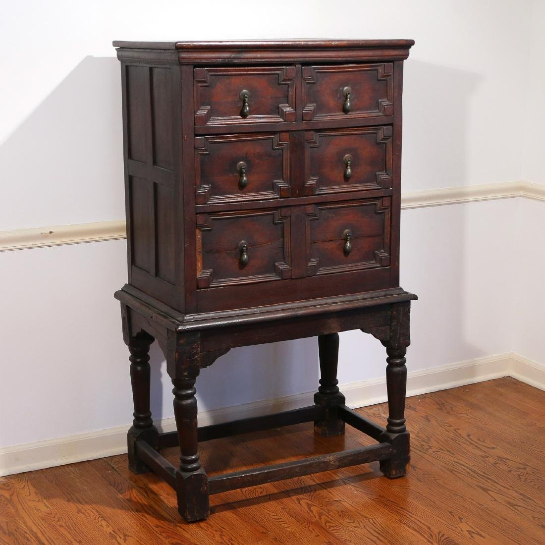 JACOBEAN PANELED OAK CHEST ON STAND