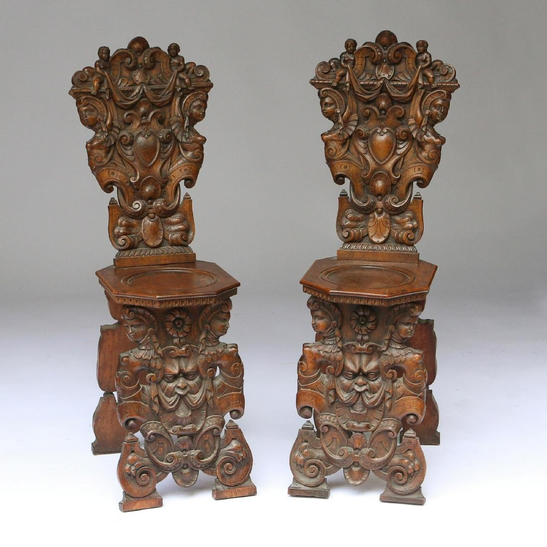 PAIR ITALIAN BAROQUE CARVED HALL CHAIRS