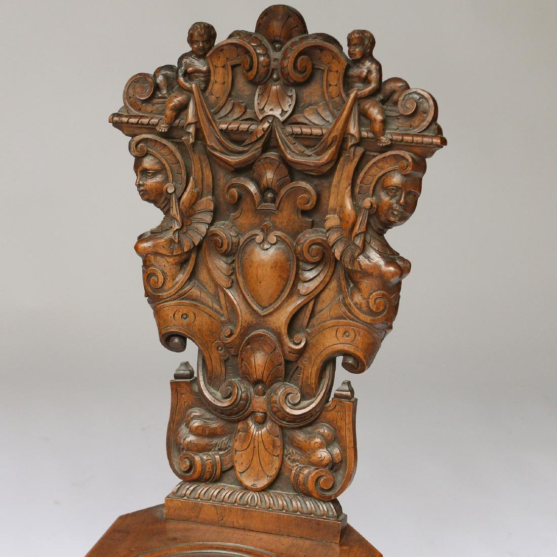 PAIR ITALIAN BAROQUE CARVED HALL CHAIRS - 2