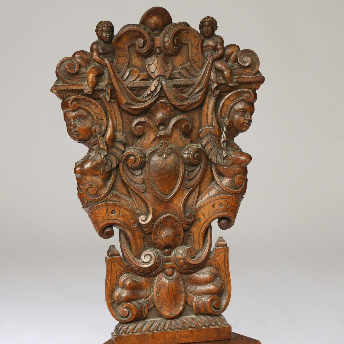 PAIR ITALIAN BAROQUE CARVED HALL CHAIRS - 3