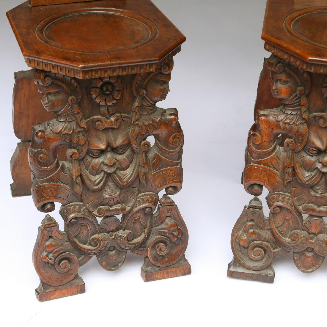 PAIR ITALIAN BAROQUE CARVED HALL CHAIRS - 4