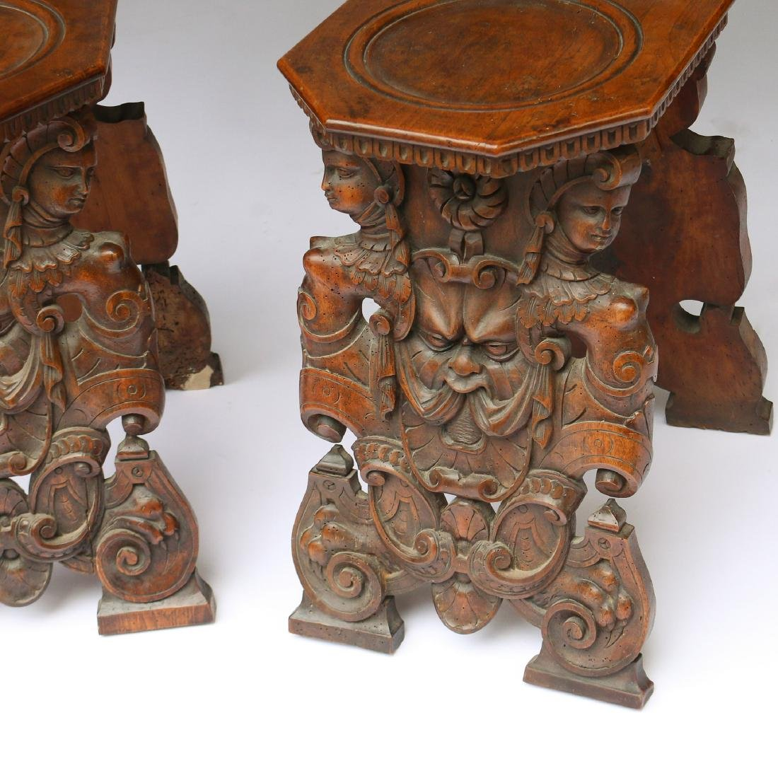 PAIR ITALIAN BAROQUE CARVED HALL CHAIRS - 5