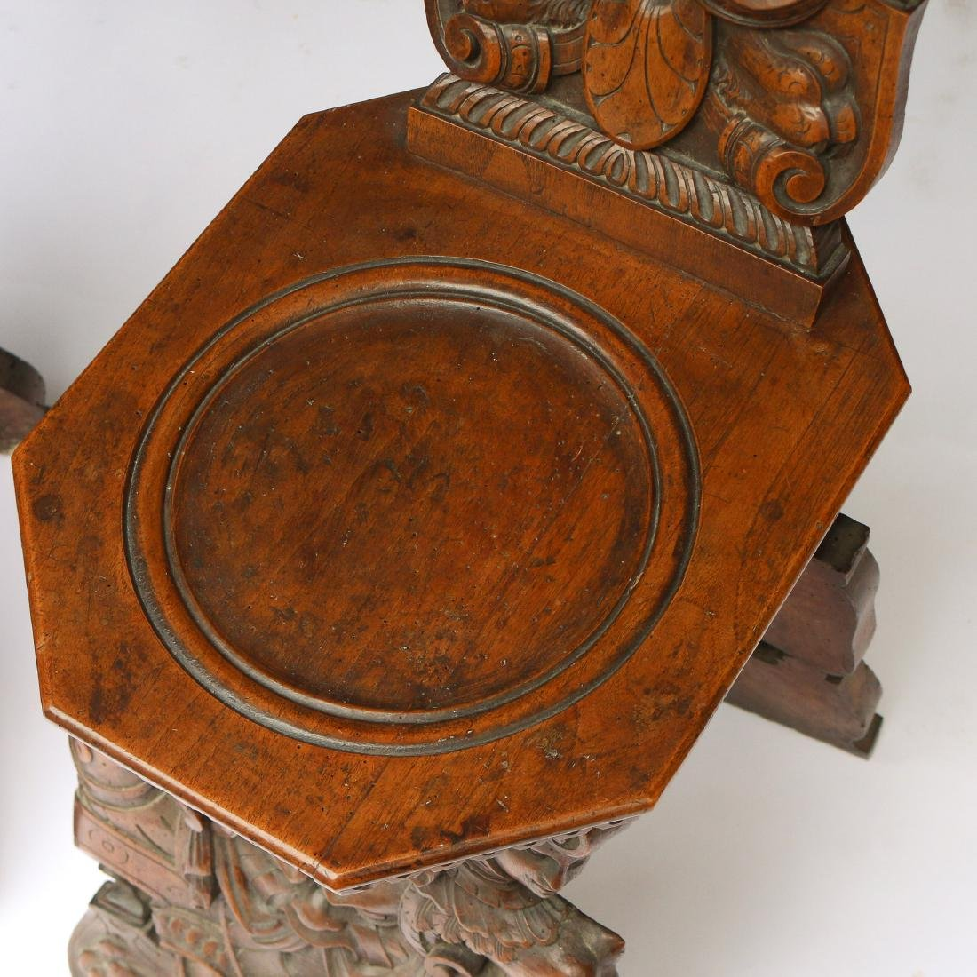 PAIR ITALIAN BAROQUE CARVED HALL CHAIRS - 6