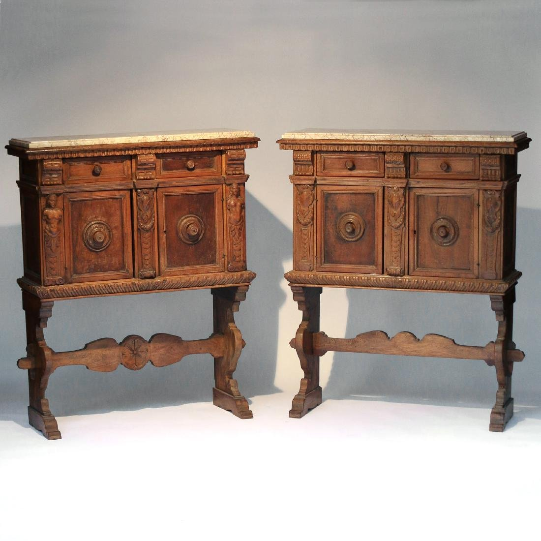 PAIR ITALIAN BAROQUE CARVED WALNUT CABINETS - 2