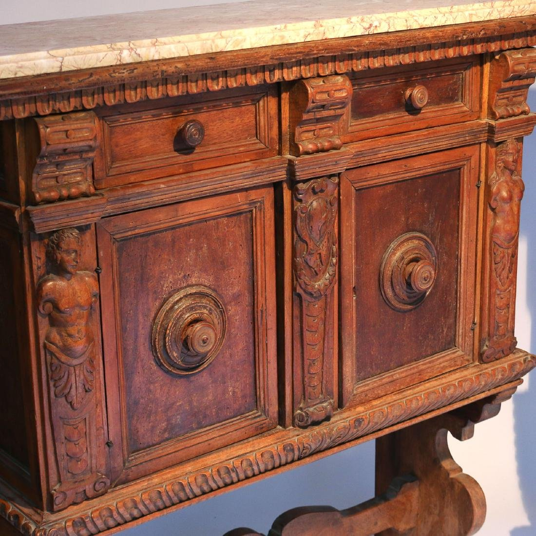 PAIR ITALIAN BAROQUE CARVED WALNUT CABINETS - 3
