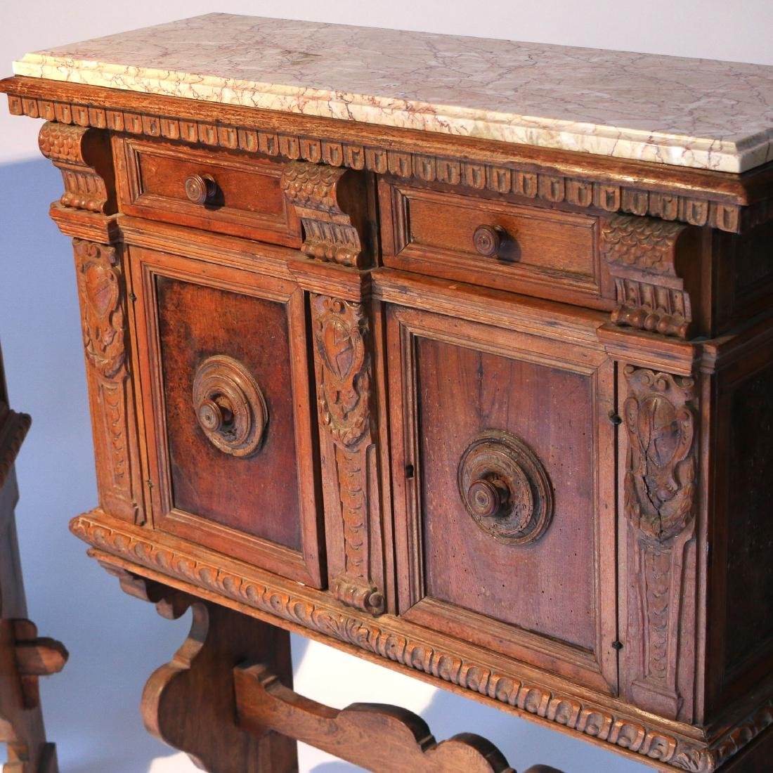 PAIR ITALIAN BAROQUE CARVED WALNUT CABINETS - 4