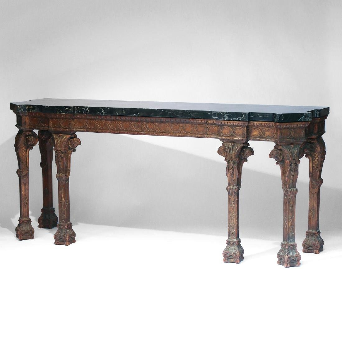 GEORGE II-STYLE GILT-CARVED MARBLE-TOP SIDE TABLE