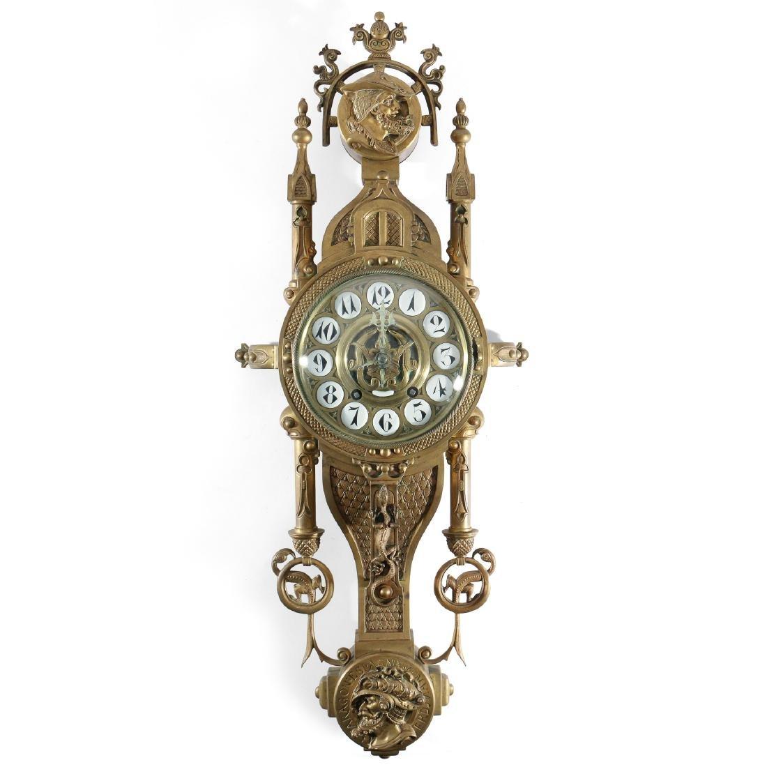 UNUSUAL CONTINENTAL BRONZE CARTEL CLOCK