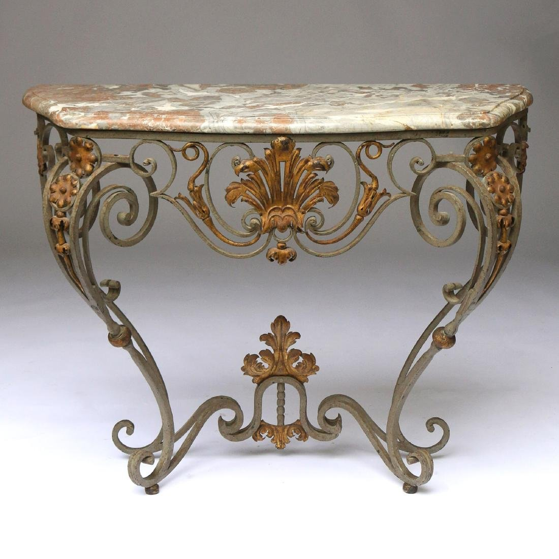 ANTIQUE FRENCH WROUGHT-IRON & MARBLE CONSOLE TABLE