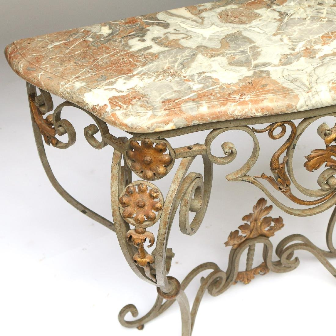 ANTIQUE FRENCH WROUGHT-IRON & MARBLE CONSOLE TABLE - 3