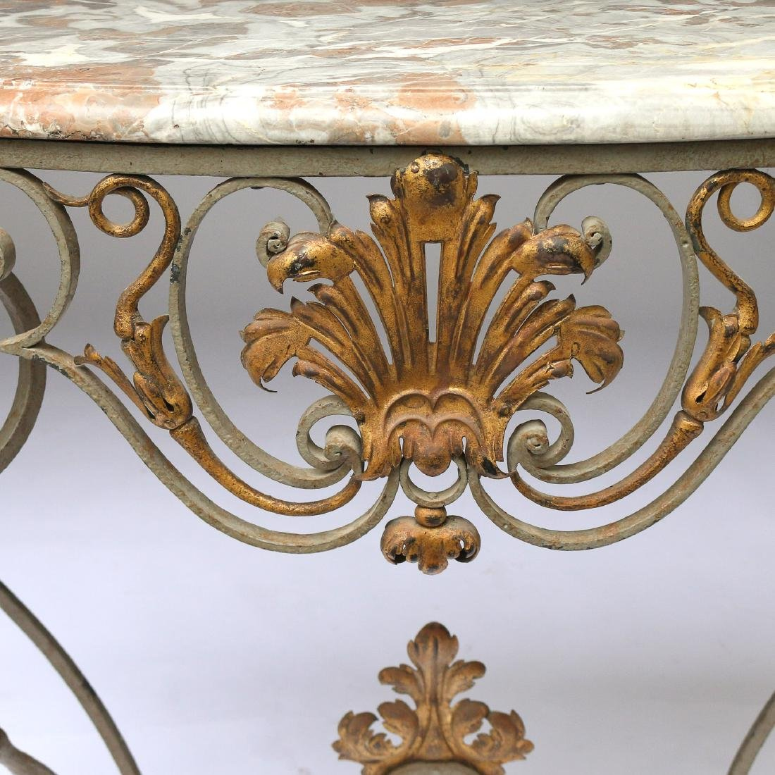 ANTIQUE FRENCH WROUGHT-IRON & MARBLE CONSOLE TABLE - 4