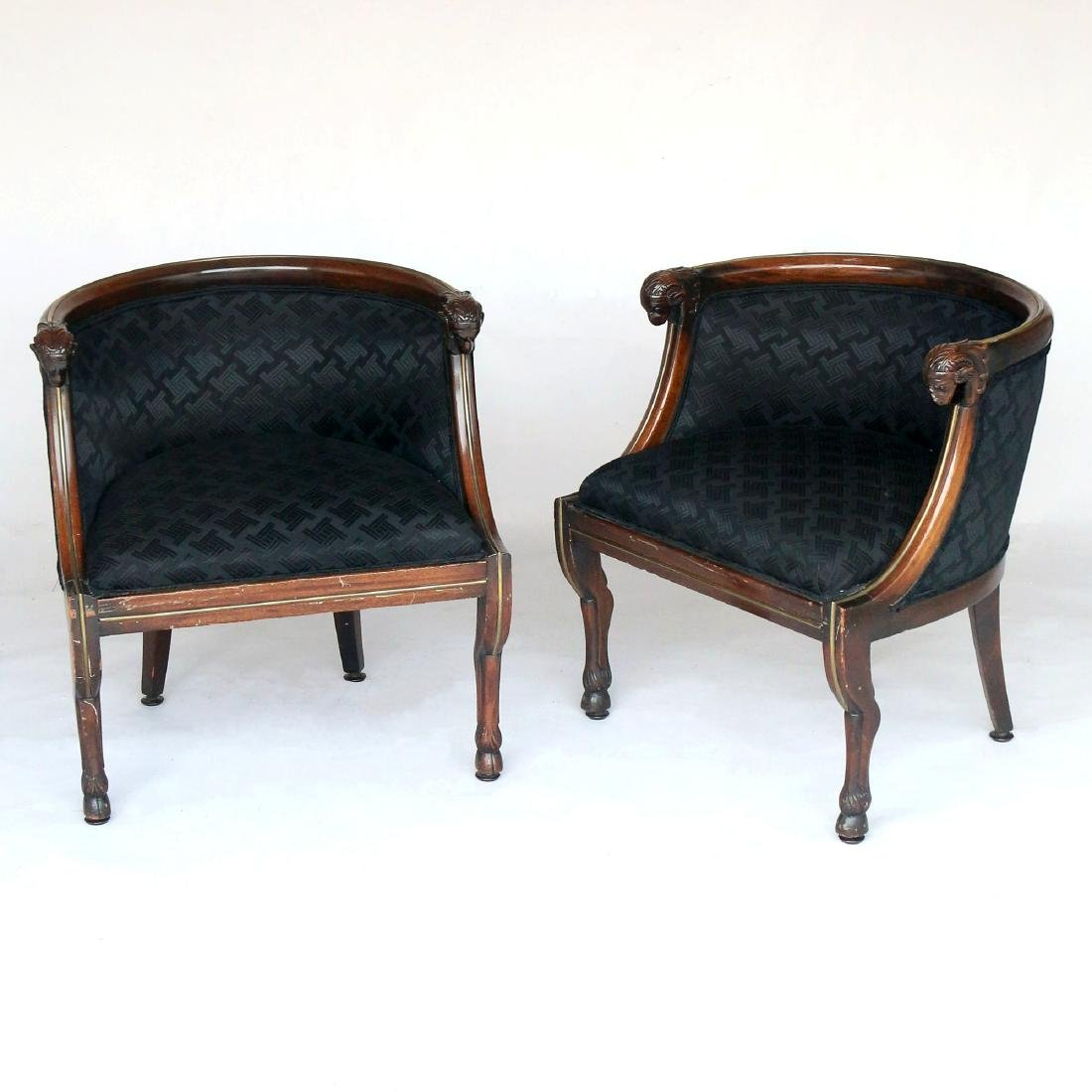PAIR REGENCY BARREL-BACK ARM CHAIRS