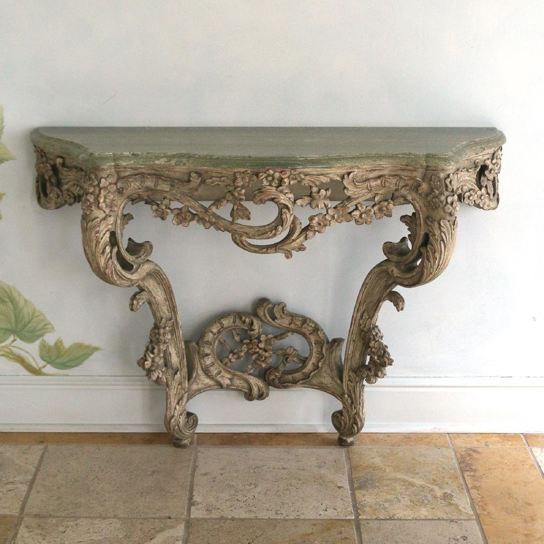 ROCOCO-STYLE CARVED MARBLE TOP CONSOLE TABLE