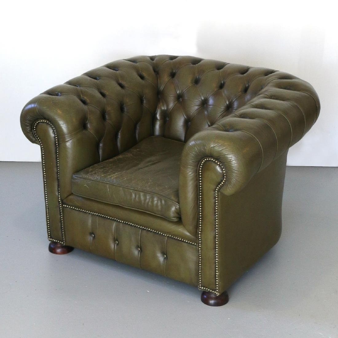 CHESTERFIELD GREEN LEATHER CLUB CHAIR