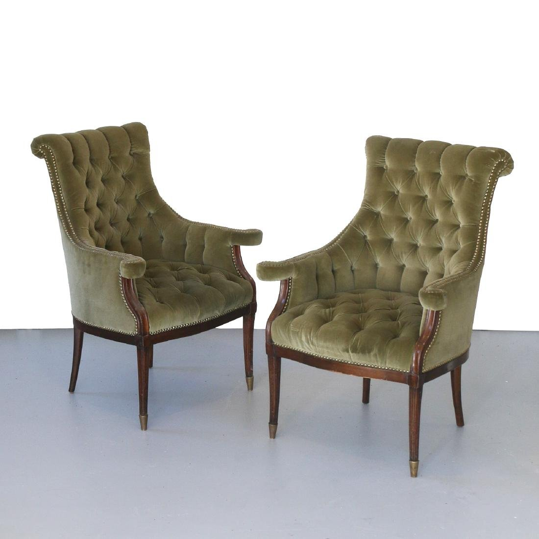PAIR UNUSUAL ANTIQUE UPHOLSTERED ARM CHAIRS