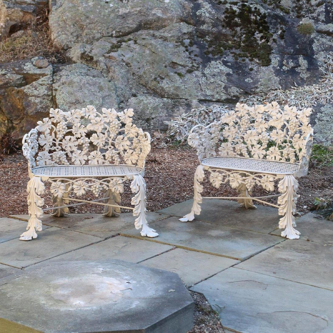 PAIR ANTIQUE CAST IRON GARDEN BENCHES
