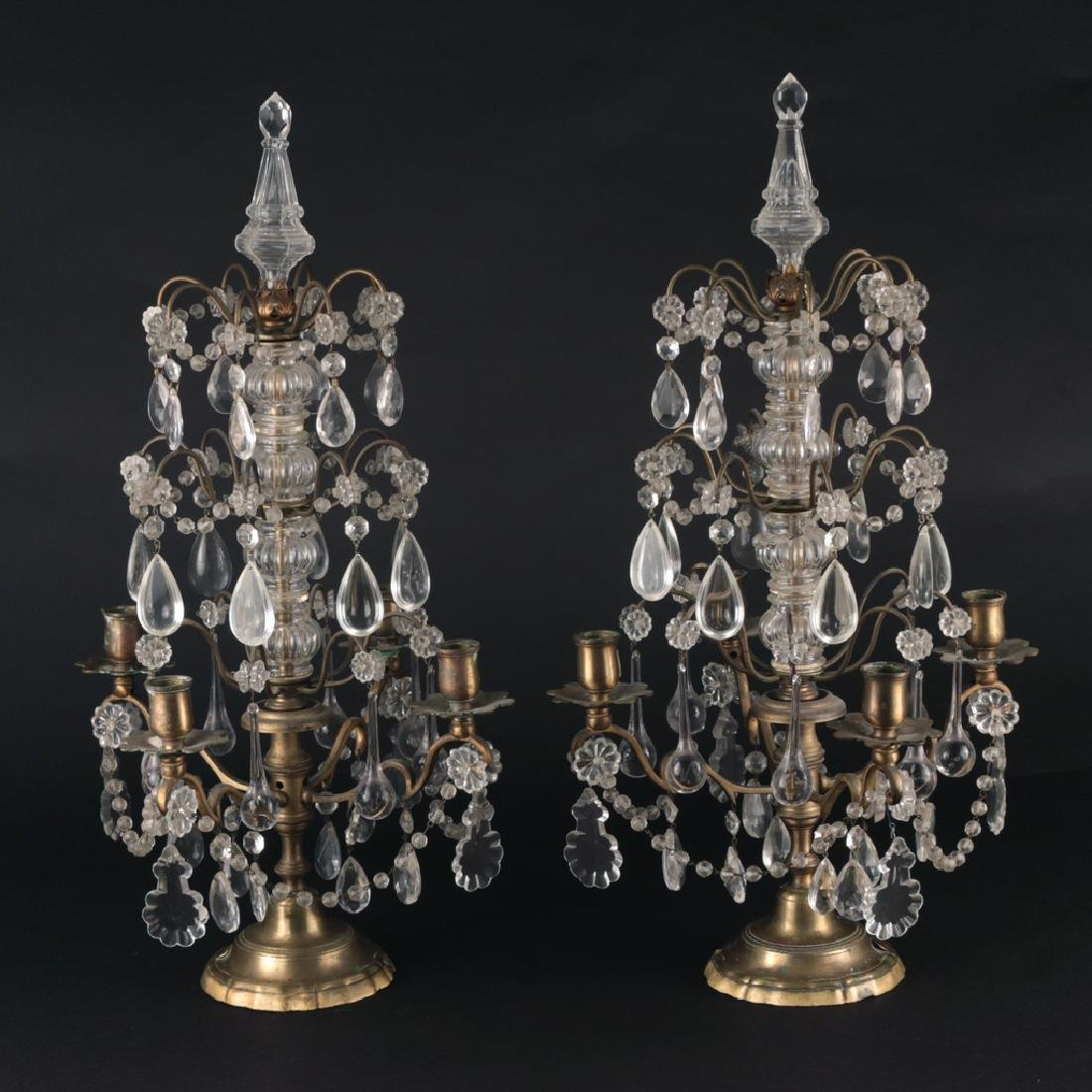 PAIR FRENCH CRYSTAL & BRASS GIRANDOLES