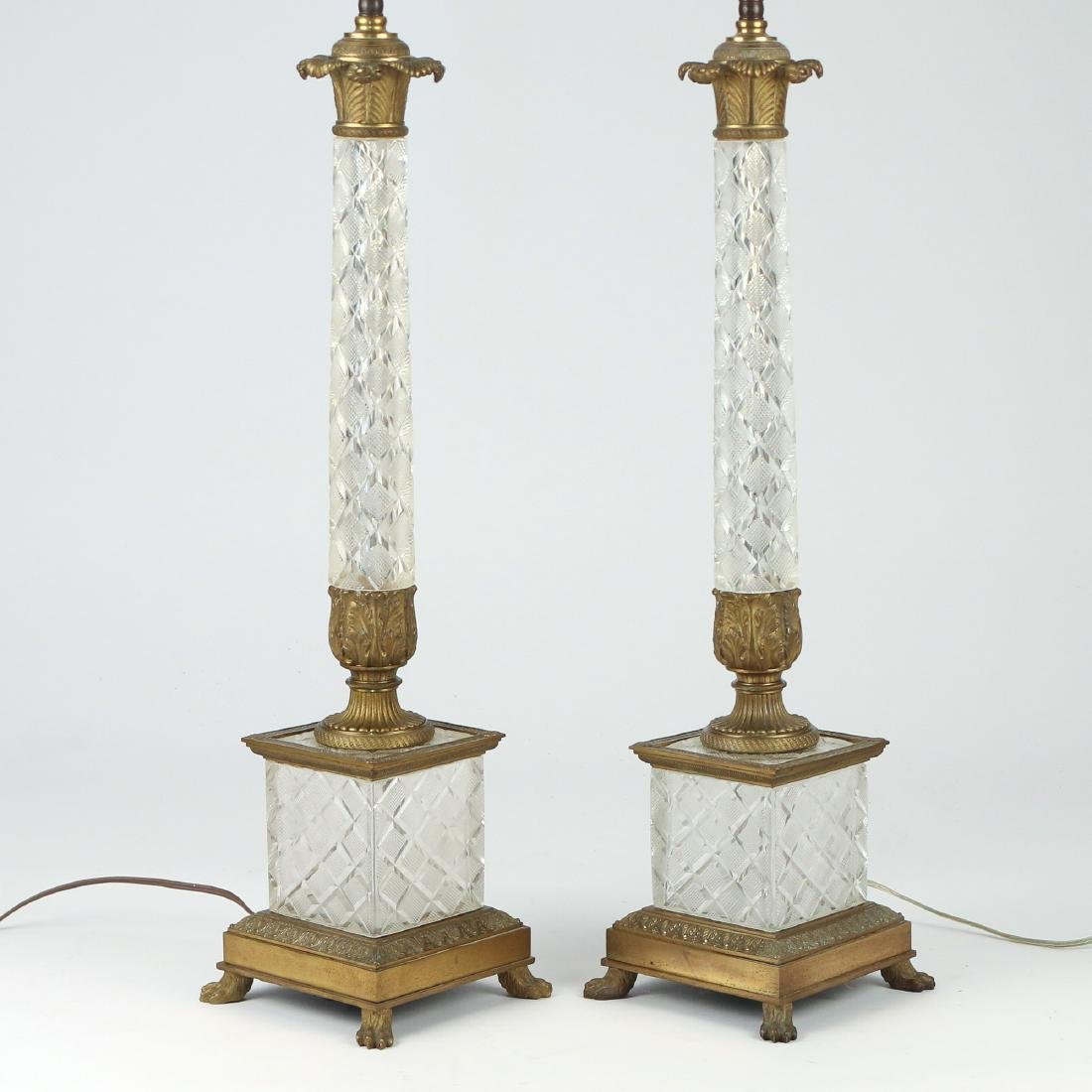 PAIR CUT CRYSTAL COLUMN-FORM TABLE LAMPS