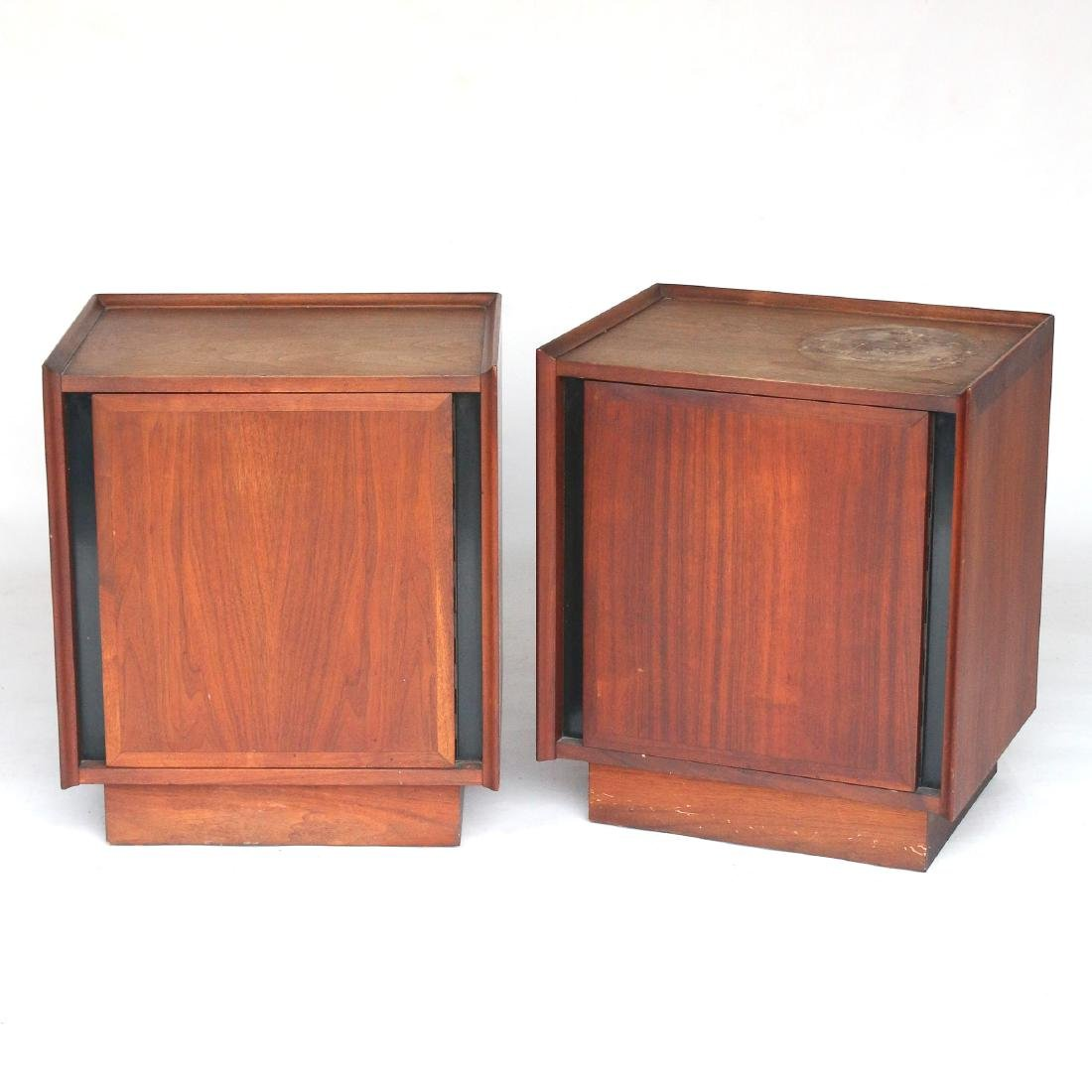 PAIR MID CENTURY BEDSIDE CABINETS