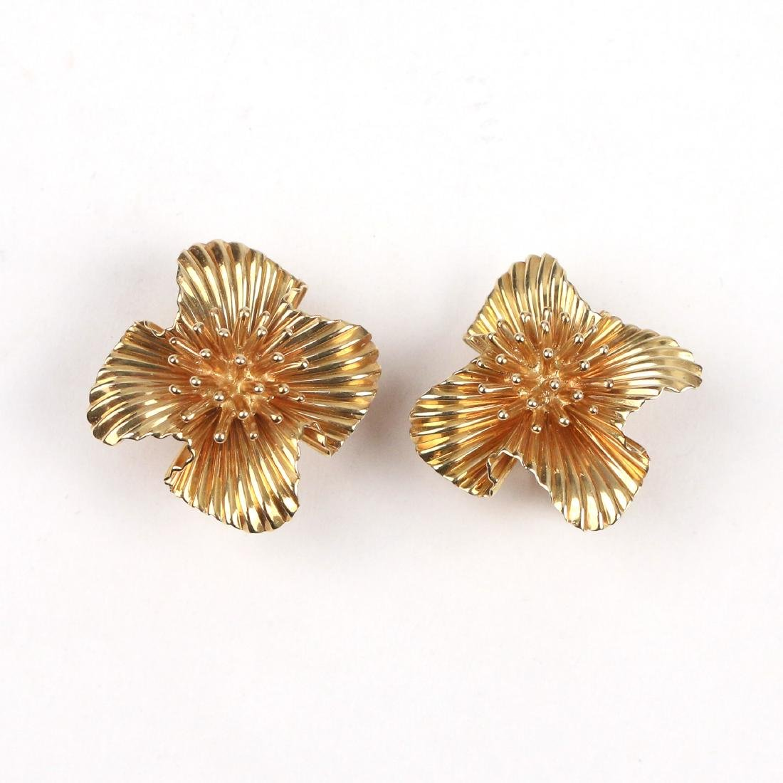 PAIR TIFFANY 14K GOLD EAR CLIPS