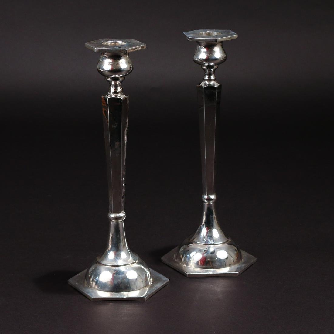 PAIR CHINESE SILVER CANDLESTICKS