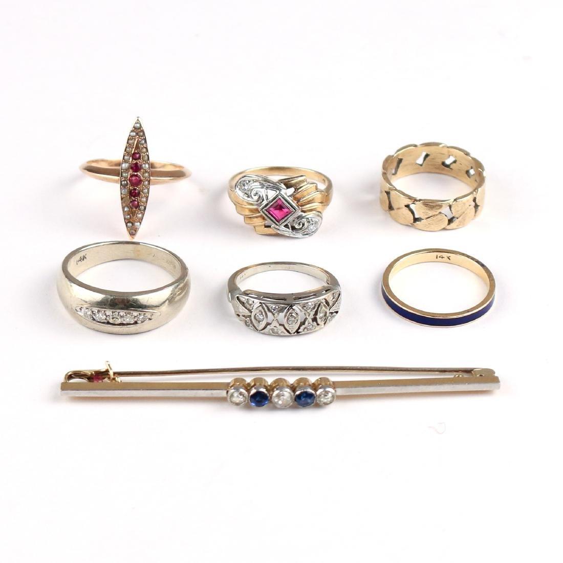 (7pc) GOLD RINGS & PIN