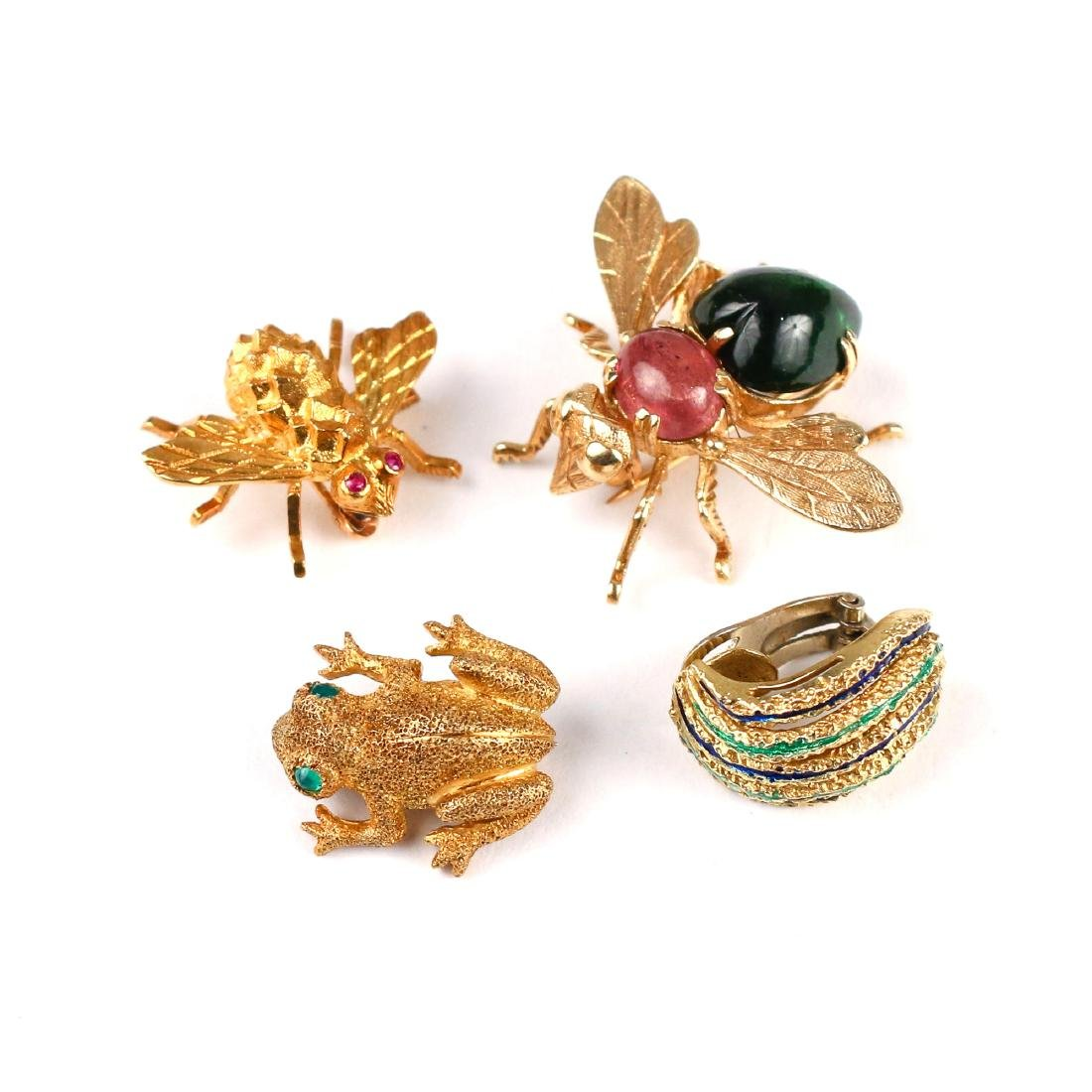 (4pc) GOLD ANIMAL PINS & OTHER