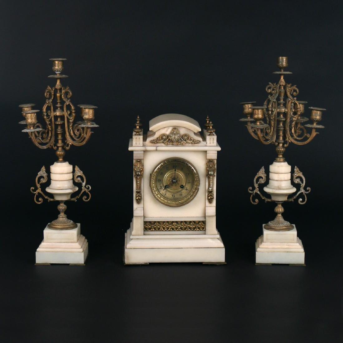 (3pc) L. MARTI FRENCH CLOCK GARNITURE