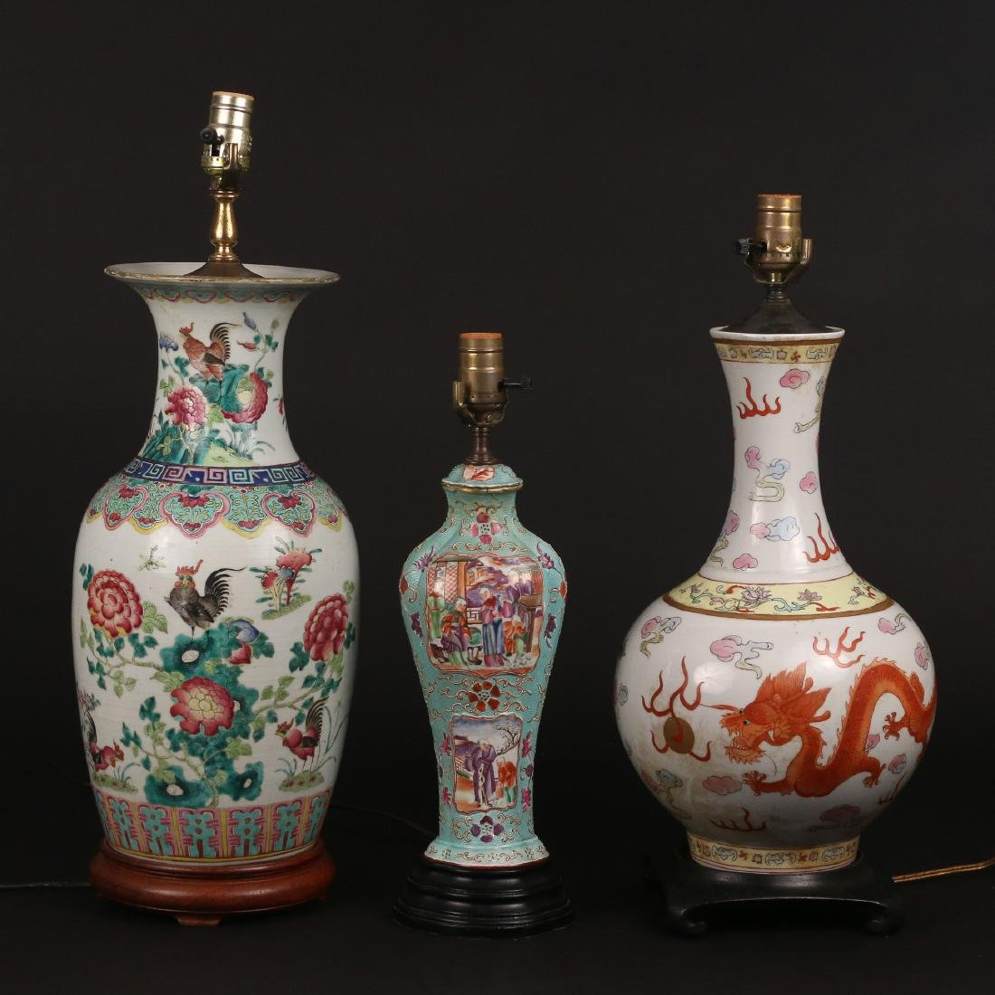 (3pc) CHINESE VASES MOUNTED AS LAMPS