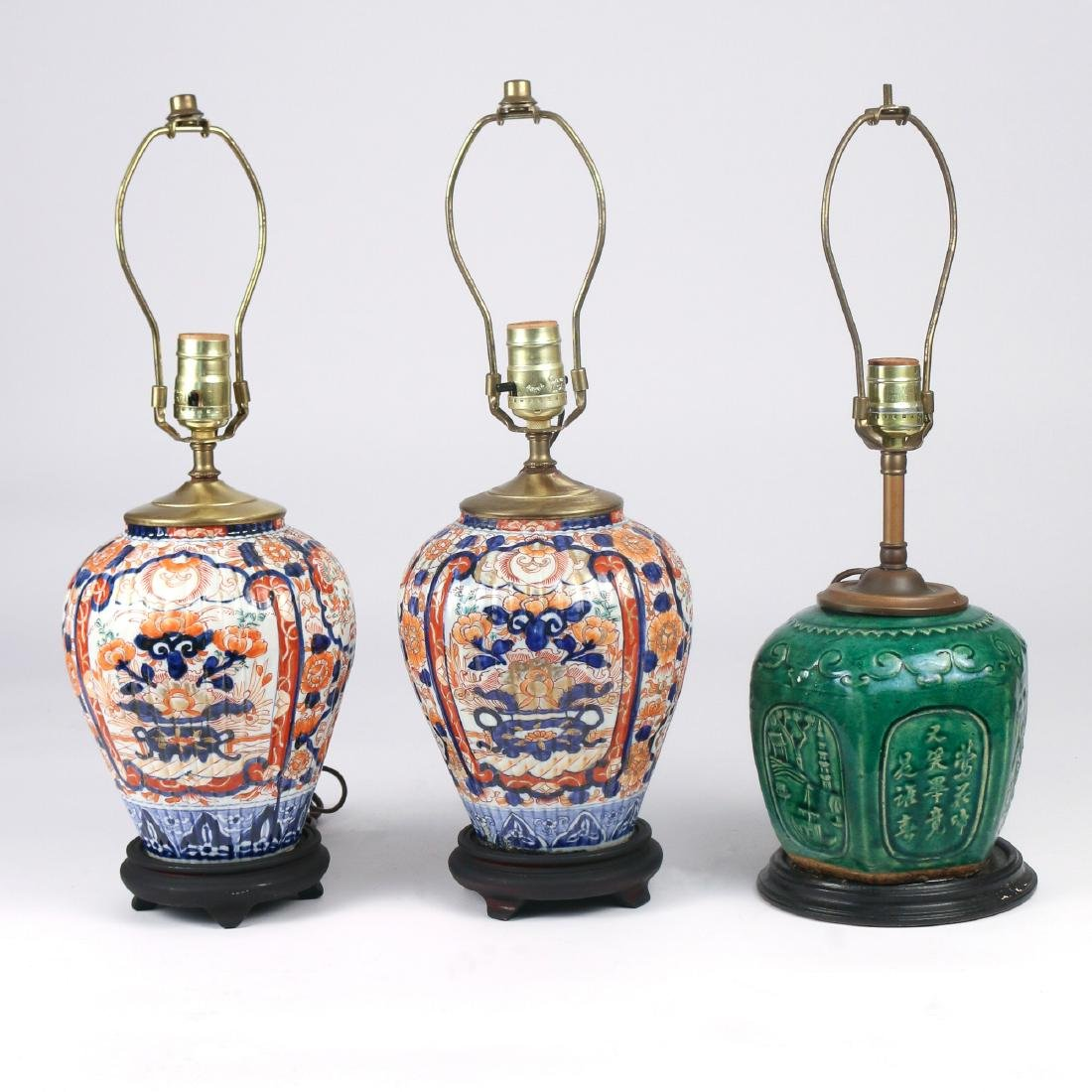 (3pc) MISC. ASIAN VASES MOUNTED AS LAMPS