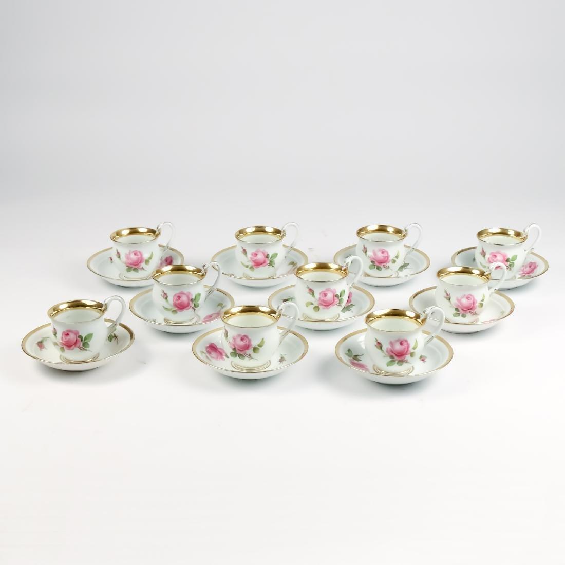 (20pc) MEISSEN TEA CUPS & SAUCERS