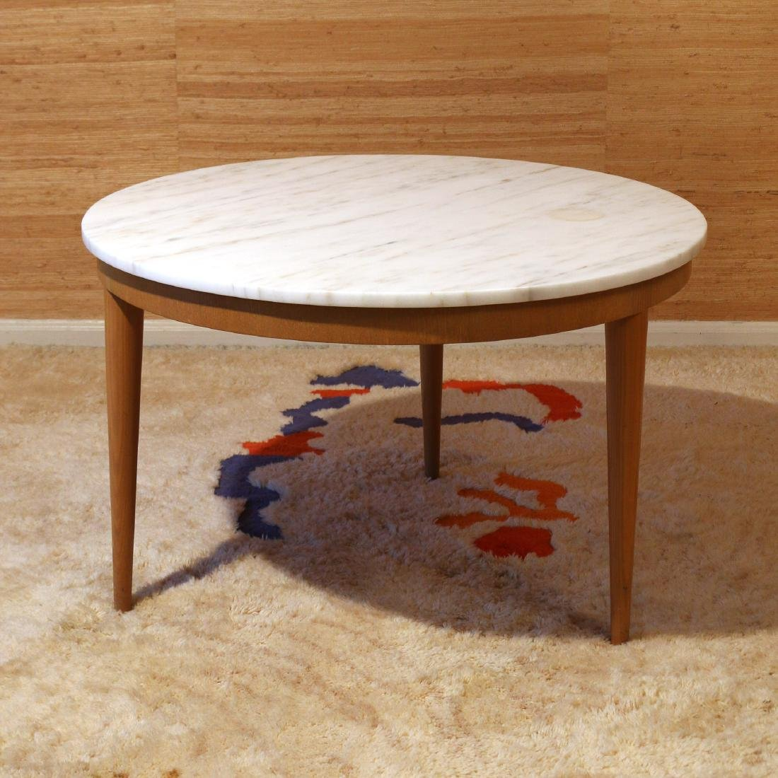 MID-CENTURY MARBLE TOP ROUND SIDE TABLE
