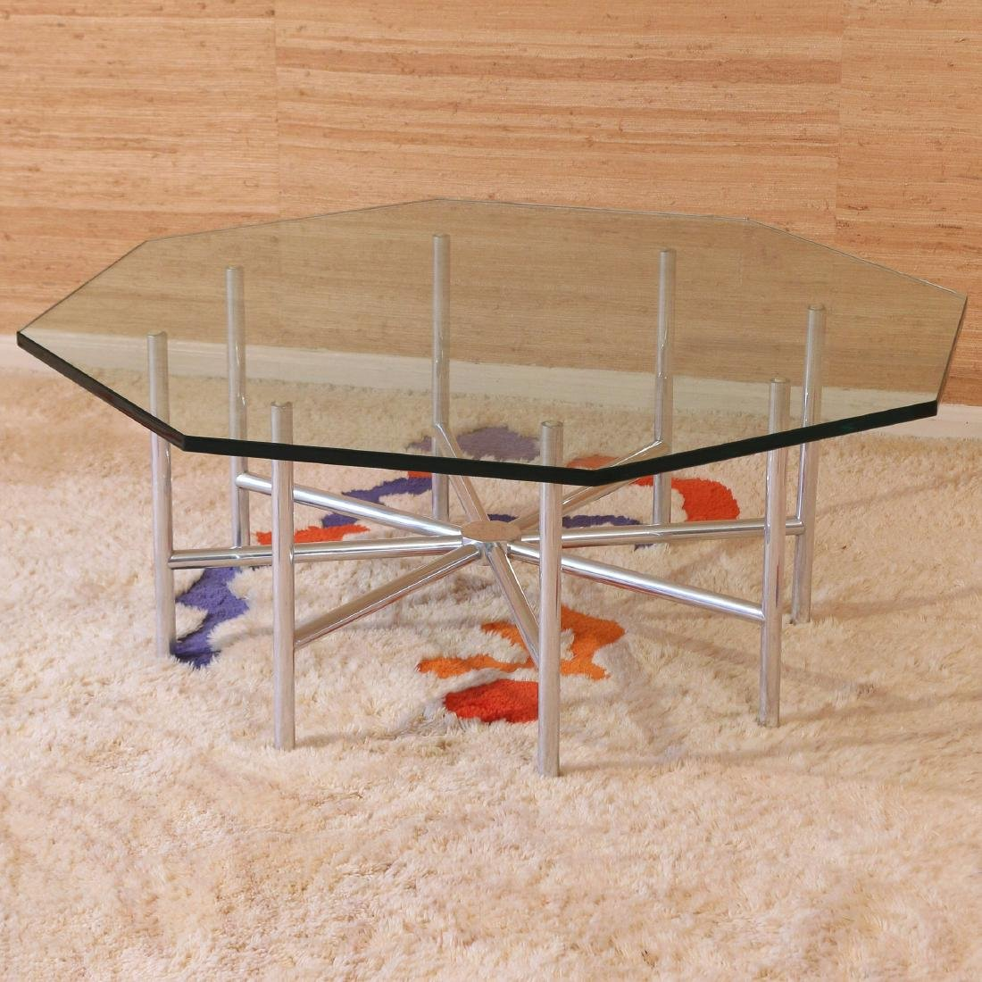 MID-CENTURY OCTAGONAL GLASS & CHROME COFFEE TABLE