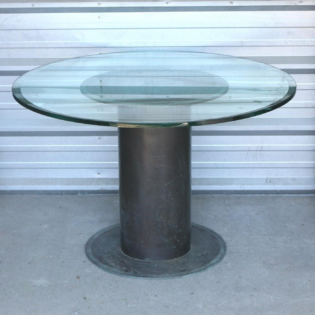(ATTRIB) KEVIN LAVERNE BRONZE & GLASS ROUND TABLE