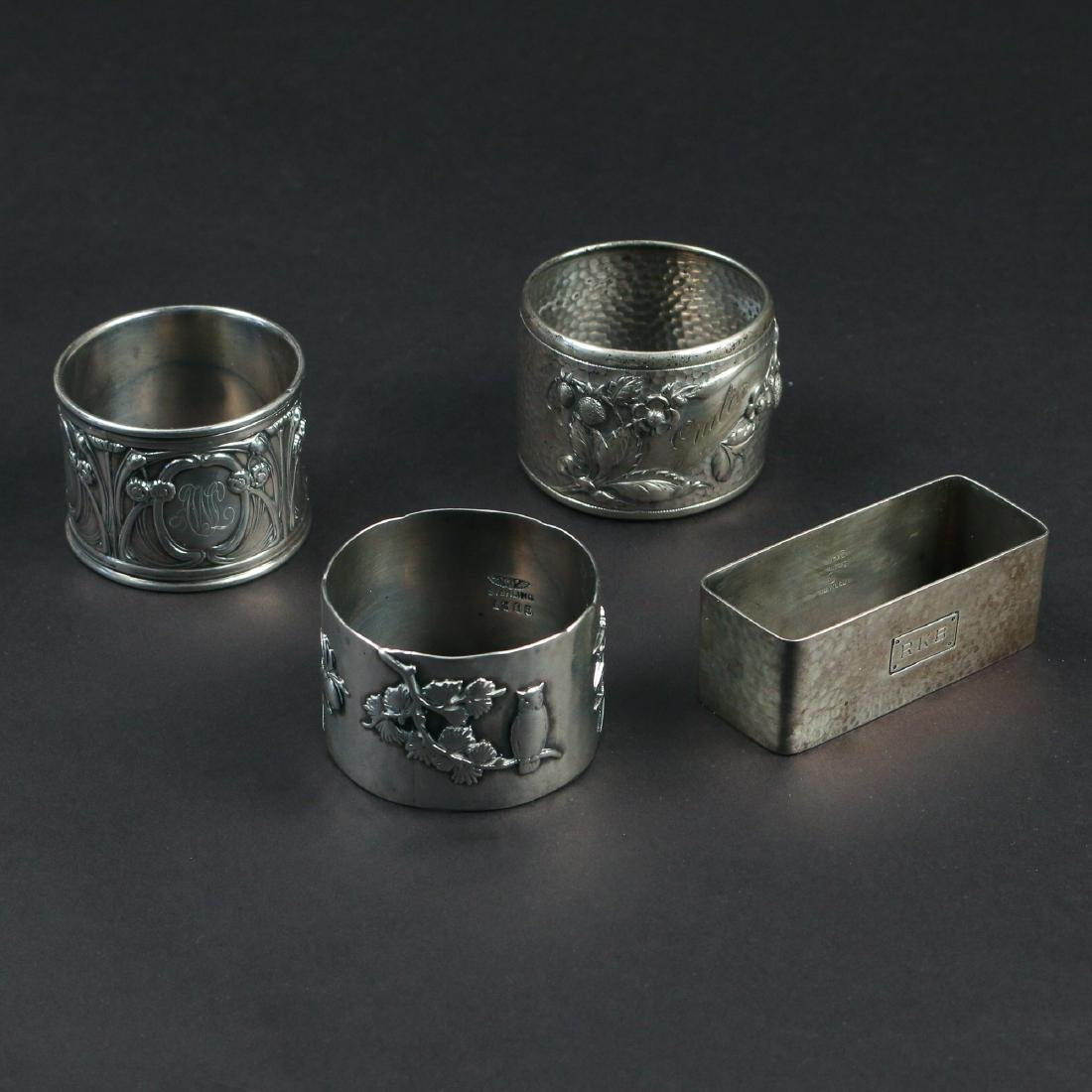 (4pc) RARE SILVER NAPKIN RINGS