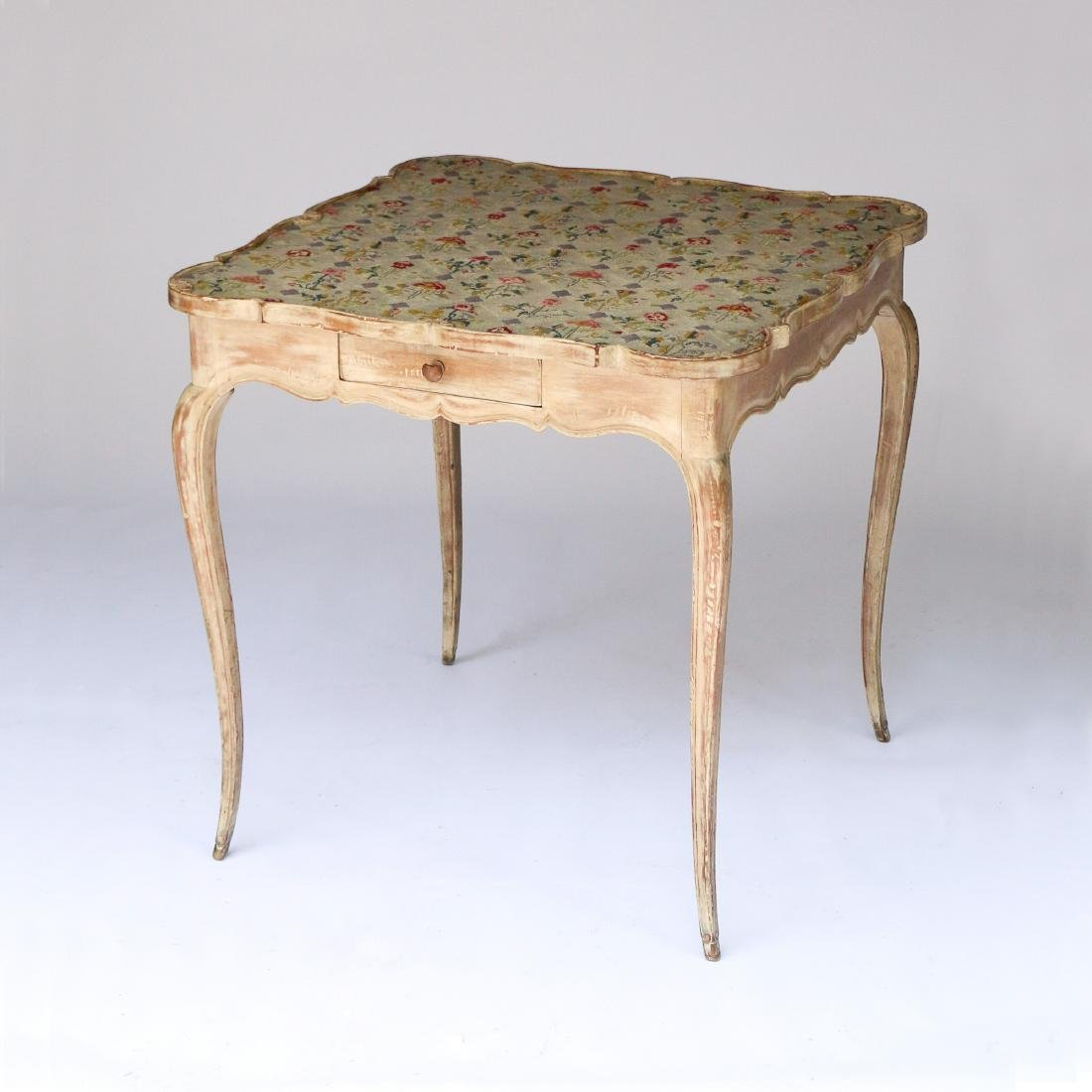EMBROIDERED TOP CARD TABLE