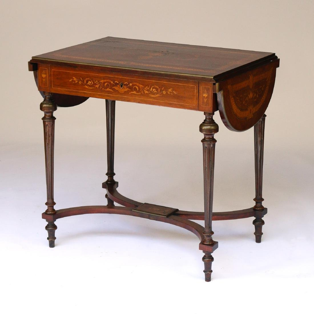 MARQUETRY DROP SIDE SOFA TABLE