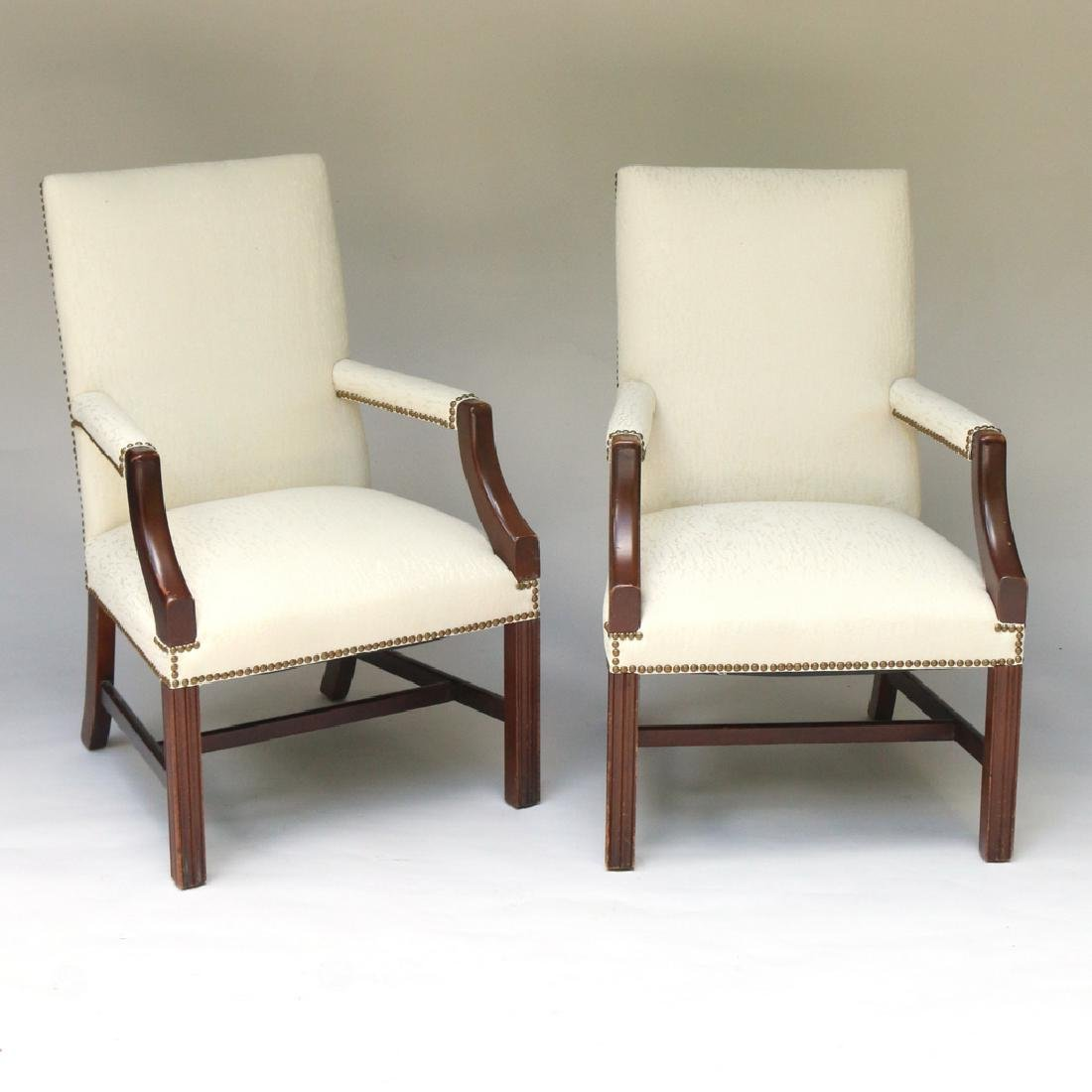 PAIR GEORGE III-STYLE MAHOGANY LOLLING CHAIRS