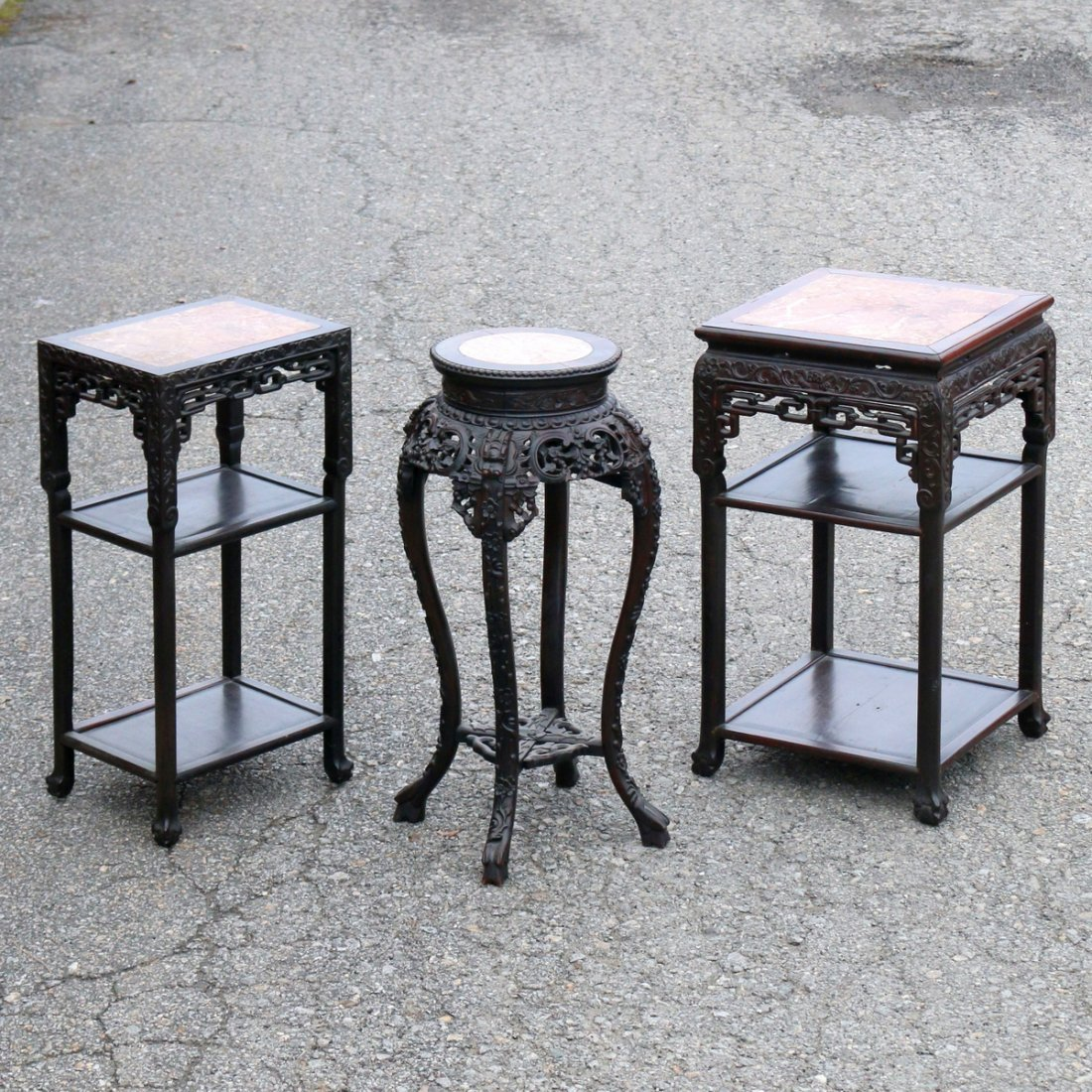 (3pc) MISC. CHINESE EXPORT HARDWOOD STANDS