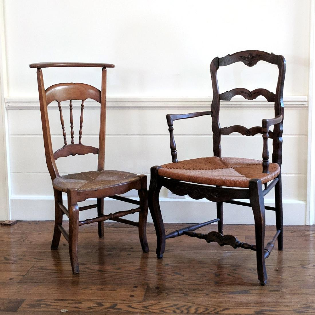 (2pc) MISC. ANTIQUE CHAIRS