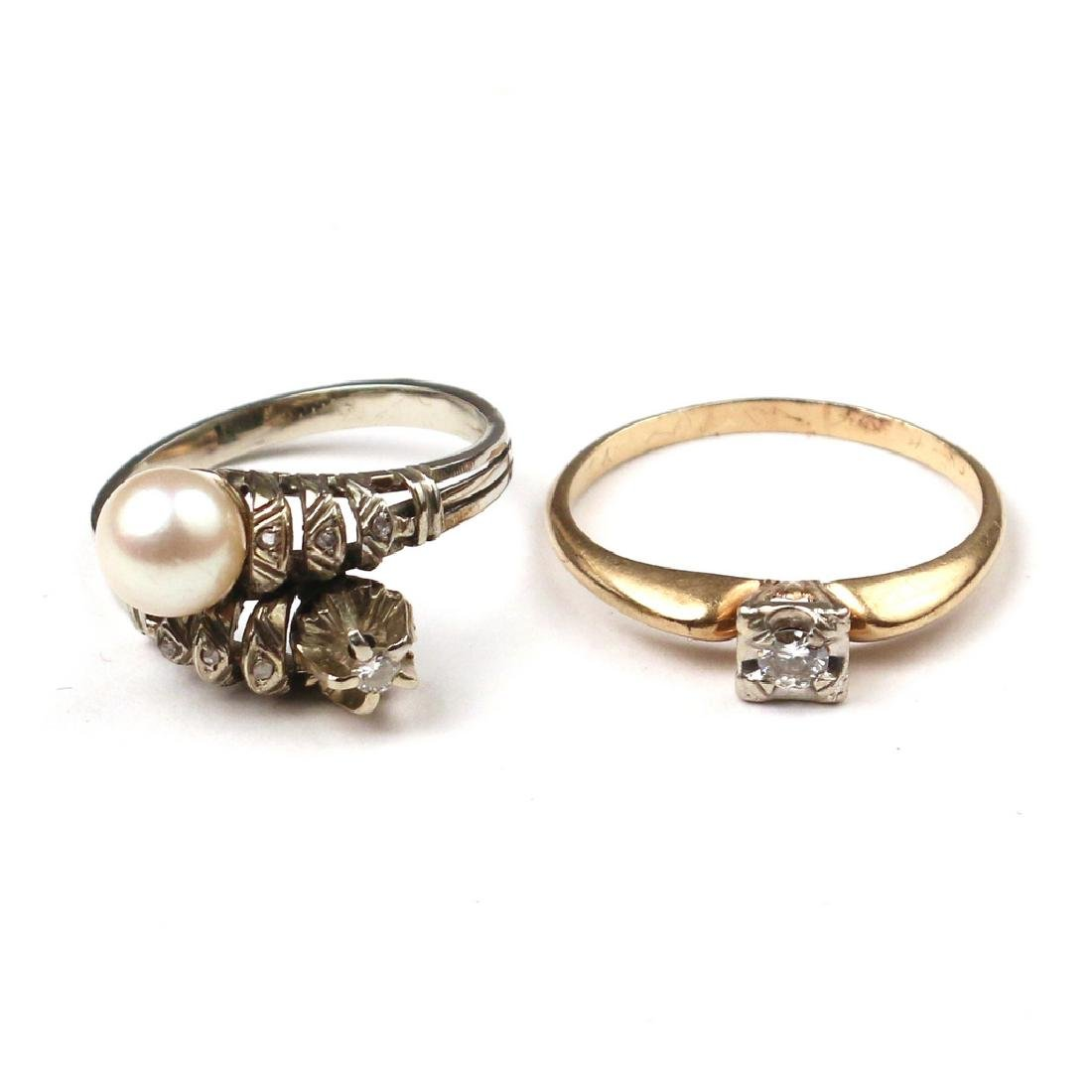 (2pc) MISC. DIAMOND & GEM RINGS