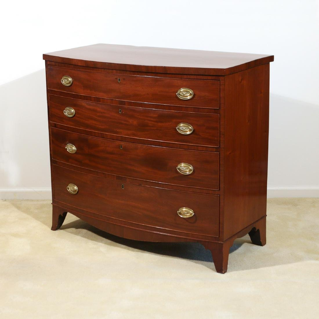 AMERICAN MAHOGANY BOW-FRONT CHEST