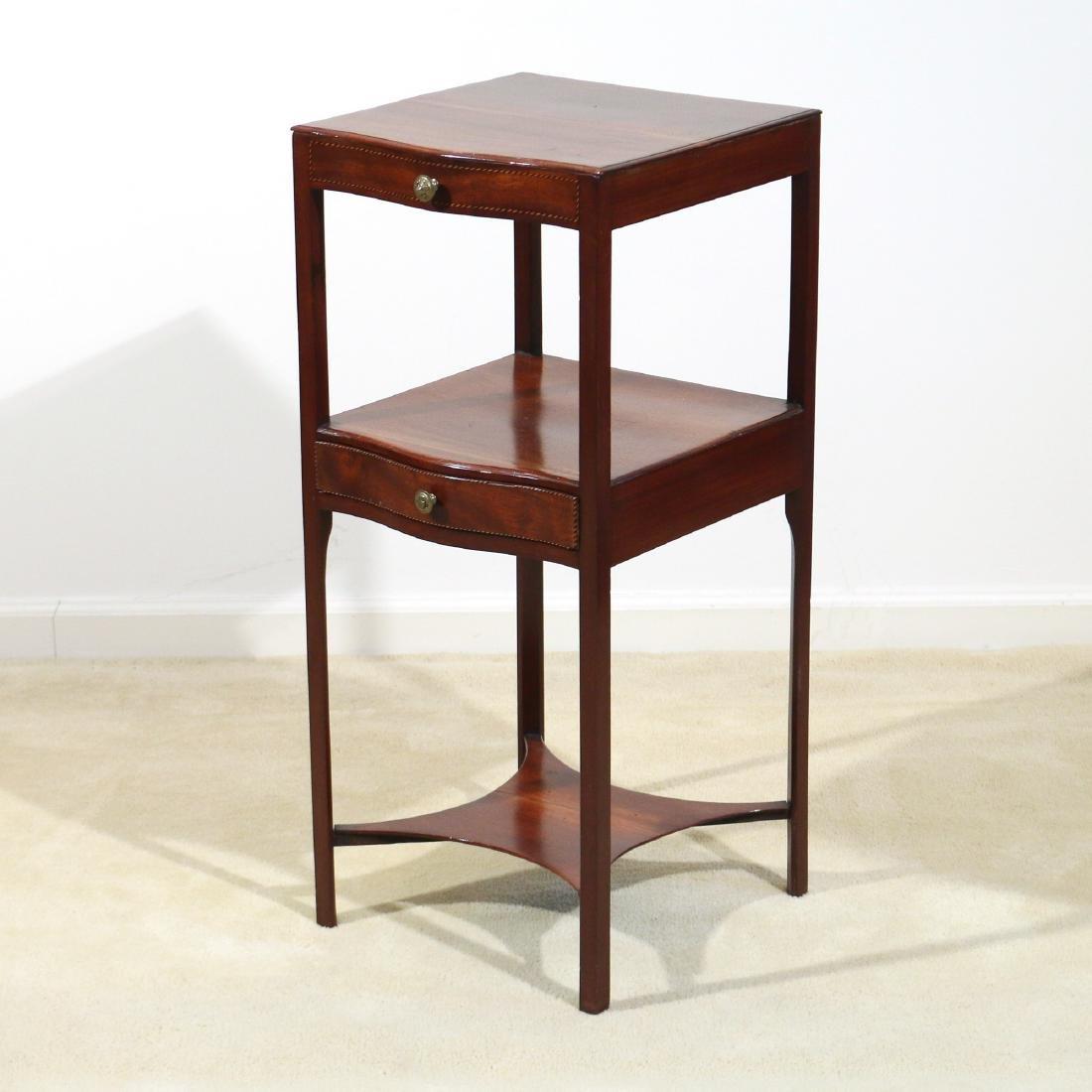 HEPPLEWHITE INLAID MAHOGANY TIERED SIDE TABLE