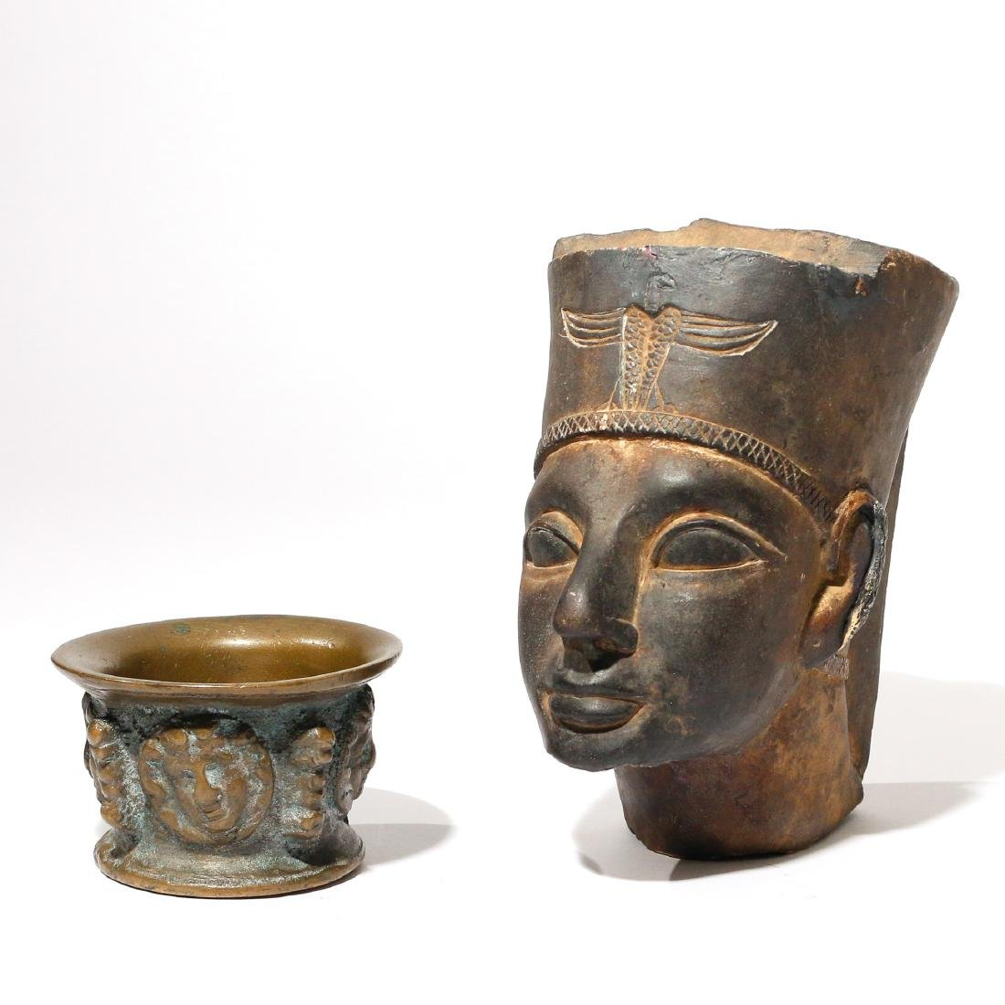 (2pc) ARCHAISTIC HEAD & EARLY BRONZE MORTAR