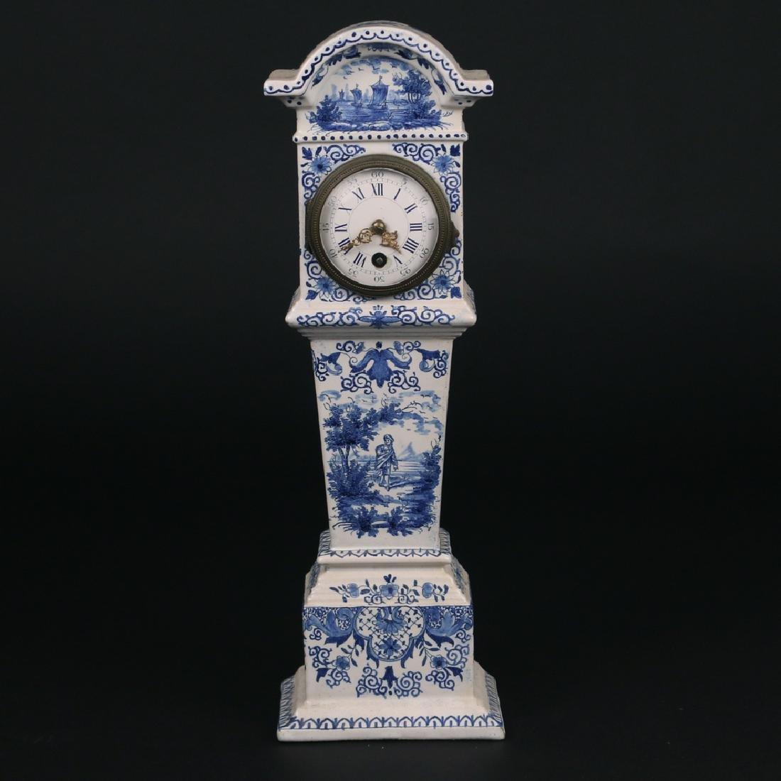 DELFT BLUE & WHITE PORCELAIN MANTEL CLOCK