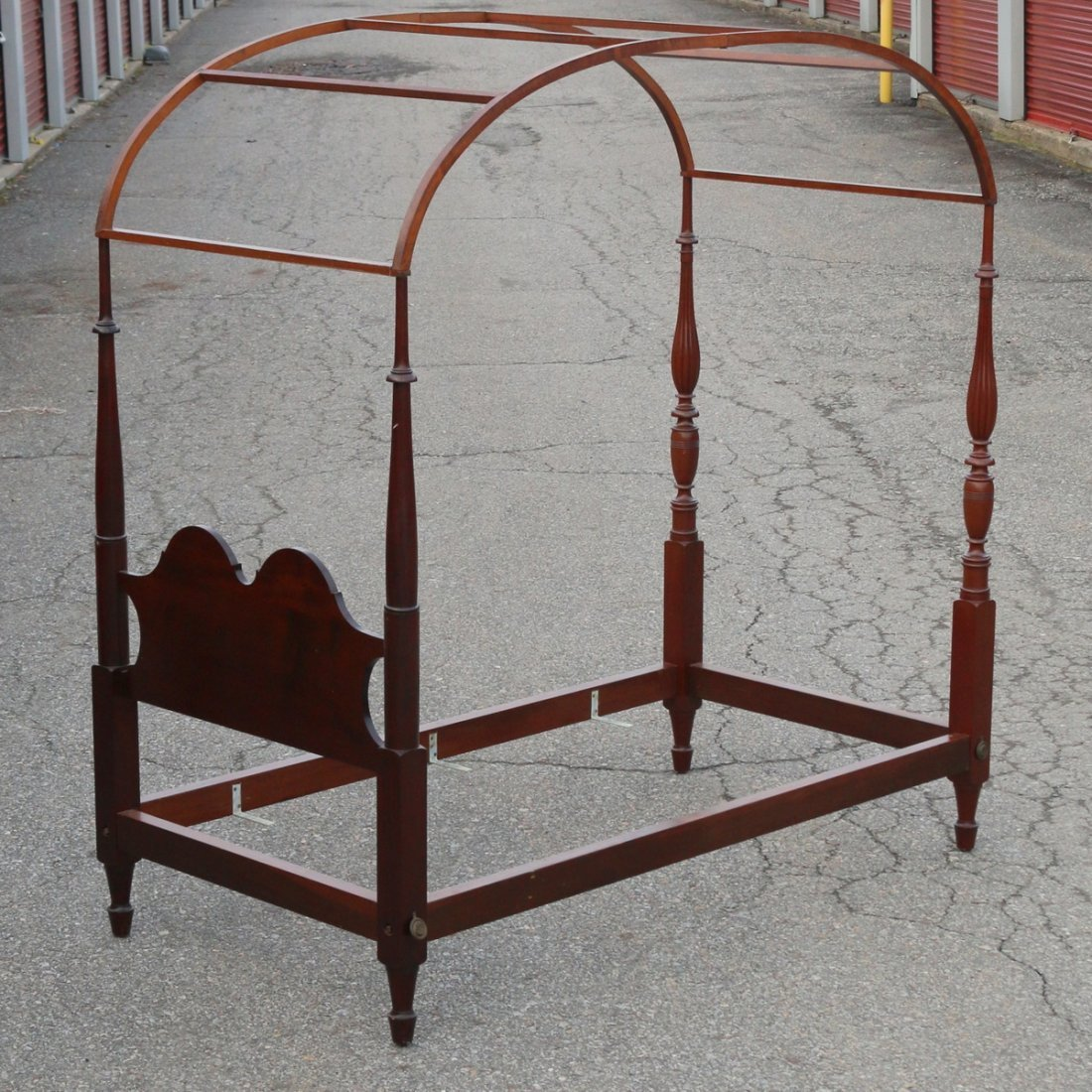 PAIR LATE FEDERAL TURNED MAHOGANY BEDSTEADS