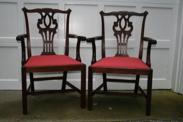 5: PR. MAHOG. CHIPPENDALE STYLE ARM CHAIRS,